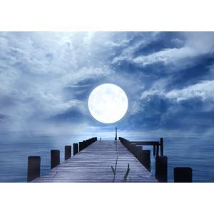 絵画風 壁紙ポスター  桟橋と幻想的なスーパームーン 月光 雲 月 満月 海 ムーンライト 神秘 癒し キャラクロ MON-024A1 (A1版 830mm×585mm)|real-inter