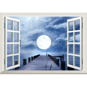 絵画風 壁紙ポスター  -窓の景色- 桟橋と幻想的なスーパームーン 月光 雲 月 満月 海 ムーンライト 【窓仕様】 MON-024MA2 (A2版 594mm×420mm)|real-inter