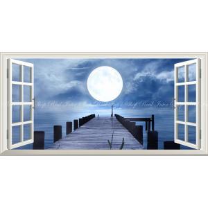 絵画風 壁紙ポスター  -窓の景色- 桟橋と幻想的なスーパームーン 月光 雲 月 満月 海 パノラマ 【窓仕様】 MON-024MS1 (1152mm×576mm)|real-inter