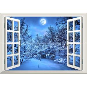 絵画風 壁紙ポスター  -窓の景色- 雪化粧とスーパームーン 雪 森林 冬景色 満月 月 癒し 【窓仕様】 MON-026MA1 (A1版 830mm×585mm)|real-inter