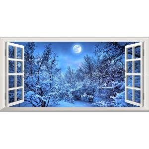 絵画風 壁紙ポスター  -窓の景色- 雪化粧とスーパームーン 雪 森林 冬景色 満月 月 癒し パノラマ 【窓仕様】 MON-026MS1 (1152mm×576mm)|real-inter