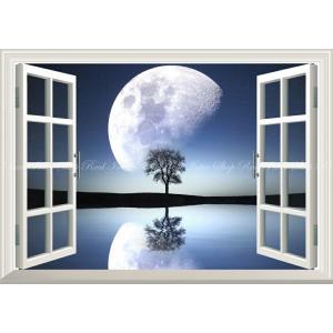 絵画風 壁紙ポスター  -窓の景色- 幻想的なビッグムーンと一本木 スターダスト 更待月 月 神秘 癒し 【窓仕様】 キャラクロ MON-033MA2 (A2版 594mm×420mm)|real-inter