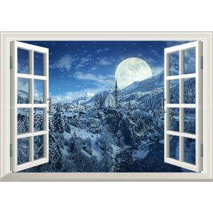 絵画風 壁紙ポスター  -窓の景色- 銀世界の雪国と幻想的なスーパームーン ホワイトクリスマス アルプス 満月 月 【窓仕様】 MON-034MA2 (A2版 594mm×420mm)|real-inter