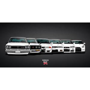 絵画風 壁紙ポスター  日産 歴代GT-R スカイライン ハコスカ ケン&メリー R32 R33 GT-R R34 R35 ニッサン キャラクロ NGTR-003S1 (1152mm×576mm)|real-inter