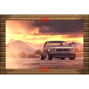 絵画風 壁紙ポスター  日産 スカイライン 2000 GTX ハコスカ GT-R 夕焼け 【額縁印刷】 キャラクロ NGTX-003SGD2 (603mm×405mm)|real-inter
