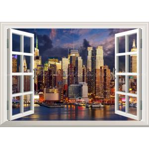 絵画風 壁紙ポスター  -窓の景色- ニューヨークのベイサイド夜景 マハッタンの夜景【窓仕様】 キャラクロ NYK-020MA2 (A2版 594mm×420mm)|real-inter