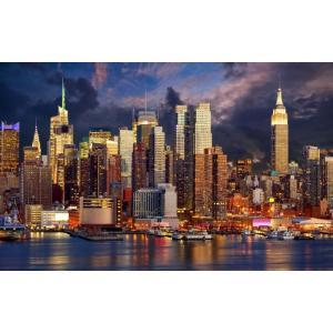 絵画風 壁紙ポスター  ニューヨークのベイサイド夜景 マハッタンの夜景 キャラクロ NYK-020W2 (ワイド版 603mm×376mm)|real-inter