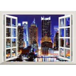 絵画風 壁紙ポスター  -窓の景色- タイムズスクエアの夜景 ニューヨークの夜景【窓仕様】 キャラクロ NYK-023MA2 (A2版 594mm×420mm)|real-inter