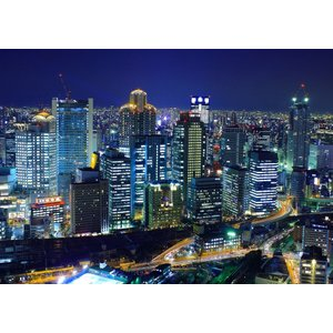 絵画風 壁紙ポスター  大阪 夜景 ネオン パノラマ キャラクロ OSK-002A1 (A1版 83...