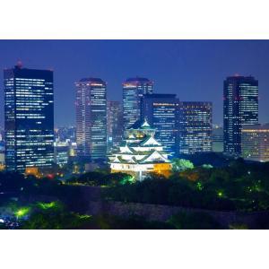 絵画風 壁紙ポスター  大阪 大坂城 夜景 ライトアップ キャラクロ OSK-003A2 (A2版 ...