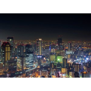 絵画風 壁紙ポスター  大阪 夜景 ネオン パノラマ キャラクロ OSK-004A1 (A1版 83...