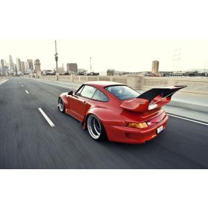 絵画風 壁紙ポスター  ポルシェ 911 クーペ RWBチューニングカー 993型 1995年 レッド キャラクロ P993-007W2 (ワイド版 603mm×376mm)|real-inter