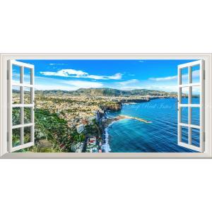 絵画風 壁紙ポスター  -窓の景色- アマルフィ 地中海 リゾート イタリア 絶景 海岸 海 パノラマ 【窓仕様】 キャラクロ RCCK-002MS1 (1152mm×576mm)|real-inter