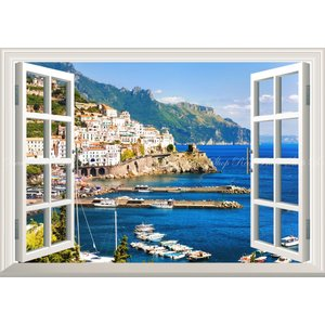 絵画風 壁紙ポスター  -窓の景色- イタリア 地中海 マリンリゾート ヨットハーバー 海岸 海 【窓仕様】 キャラクロ RCCK-003MA1 (A1版 830mm×585mm)|real-inter