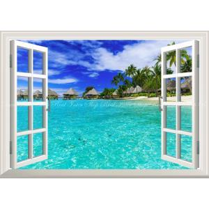 絵画風 壁紙ポスター  -窓の景色- ポリネシア ボラボラ島 トロピカルビーチ 水上コテージ リゾート 海 癒し 【窓仕様】 RPLN-001MA2 (A2版 594mm×420mm)|real-inter