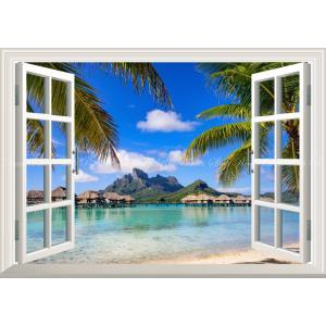 絵画風 壁紙ポスター  -窓の景色- ポリネシア ボラボラ島 ビーチ オテマヌ山とコテージ群 リゾー...