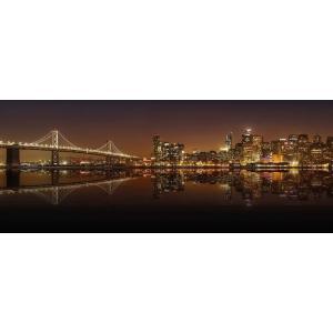 絵画風 壁紙ポスター  サンフランシスコ・オークランド・ベイブリッジ 夜景 橋 キャラクロ SFC-101P1 (パノラマ版 1440mm×576mm)|real-inter