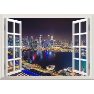 絵画風 壁紙ポスター  -窓の景色- シンガポール マリーナ・ベイ 夜景 マーライオン【窓仕様】 キャラクロ SGP-001MA2 (A2版 594mm×420mm)|real-inter