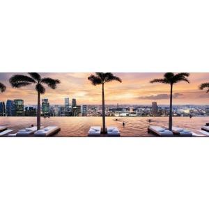 絵画風 壁紙ポスター  マリーナベイサンズ 屋上プールの景色 夕焼けのシンガポール 夜景 キャラクロ SGP101S2 (パノラマ 926mm×287mm) real-inter