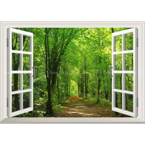 絵画風 壁紙ポスター  -窓の景色- 森林と小道 森林浴 新緑 散歩道 目の保養 癒し 気分転換 【窓仕様】 キャラクロ SNR-028MA2 (A2版 594mm×420mm)|real-inter