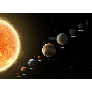 絵画風 壁紙ポスター  太陽と太陽系の惑星 水金地(月)火木土天冥海 天体 宇宙 神秘 キャラクロ SOLS-001A2 (A2版 594mm×420mm)|real-inter