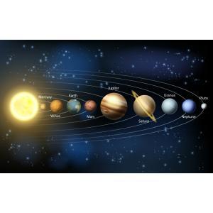 絵画風 壁紙ポスター  太陽系の惑星 水金地(月)火木土天冥海 天体 宇宙 神秘 キャラクロ SOLS-003W2 (603mm×376mm)|real-inter