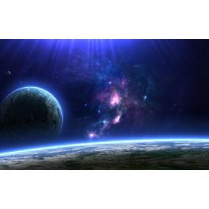 絵画風 壁紙ポスター 地平線 彗星群 惑星 宇宙 天体 神秘 癒し パワー キャラクロ SPC-009W1 (ワイド版 921mm×576mm)|real-inter