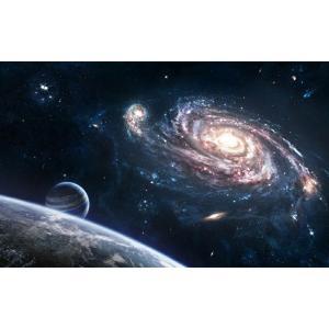 絵画風 壁紙ポスター  宇宙空間 銀河 惑星 彗星 流れ星 コスモス ギャラクシー 恒星 宇宙 天体 神秘 キャラクロ SPC-026W2 (ワイド版 603mm×376mm) real-inter