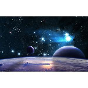 絵画風 壁紙ポスター  宇宙空間 惑星と星の競演 星座 彗星 恒星 流れ星 コスモス ギャラクシー 天体 神秘 キャラクロ SPC-027W2 (ワイド版 603mm×376mm) real-inter