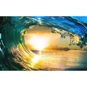 絵画風 壁紙ポスター  波 サンセット ウェーブ チューブ ハワイ 夕陽 日没 サーフィン 海 キャラクロ SWAV-016W2 (ワイド版 603mm×376mm)|real-inter