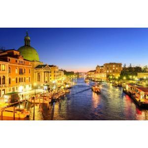 絵画風 壁紙ポスター  ヴェネツィアの夜景 水の都 運河 カナル・グランデ ゴンドラ ベニス イタリア キャラクロ VNEZ-004W2 (ワイド版 603mm×376mm) real-inter
