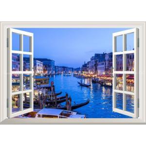 絵画風 壁紙ポスター  -窓の景色- ヴェネツィアの夜景 水の都 運河 カナル・グランデ ゴンドラ イタリア【窓仕様】 VNEZ-005MA1 (A1版 830mm×585mm)|real-inter