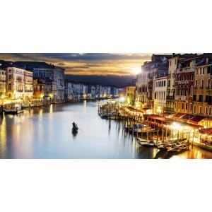 絵画風 壁紙ポスター  ヴェネツィアの夜景 水の都 運河 カナル・グランデ ゴンドラ ベニス ベネチア イタリア パノラマ VNEZ-009S1 (1152mm×576mm) real-inter