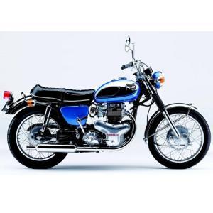 絵画風 壁紙ポスター  カワサキ 650 W1S 1968年 ダブワン スペシャル 青 バイク キャラクロ W1S-001A2 (A2版 594mm×420mm)|real-inter