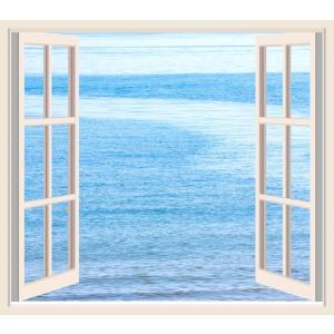 絵画風 壁紙ポスター  窓 窓の景色 窓枠 海 オーシャンビュー キャラクロ WND-003S2 (594mm×524mm)|real-inter