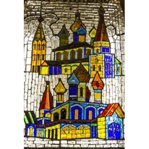 絵画風 壁紙ポスター  モザイク画 ステンドグラス 教会の窓 教会堂 西洋館 装飾 キャラクロ WSDG-012S2 (408mm×603mm)|real-inter