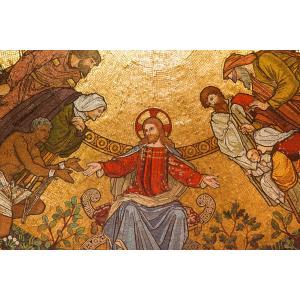 絵画風 壁紙ポスター  教会 イエス・キリスト モザイク画 ルネサンス 教会堂 西洋館 装飾 キャラクロ WSDG-017S1 (864mm×576mm)|real-inter