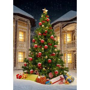 絵画風 壁紙ポスター  クリスマスツリー X'mas リボン ボール ホワイトクリスマス 雪 キャラ...