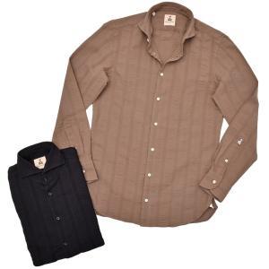 GUY ROVER ギローバー コットン ジャガードストライプ ワイドカラーシャツ|realclothing