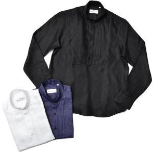 Massimo d'Augusto マッシモ ダウグスト POLO CAPLI リネン プリーツ スタンドカラー カプリシャツ|realclothing
