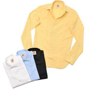 GUY ROVER ギローバー リネン コットン ソリッド イタリアンカラーシャツ|realclothing