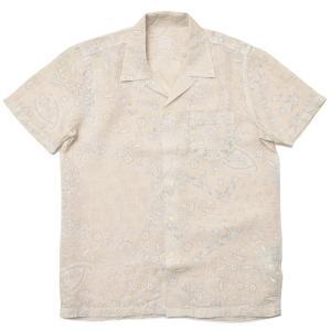 120% lino 120%リノ リネン ペイズリープリント ショートスリーブ オープンカラーシャツ|realclothing