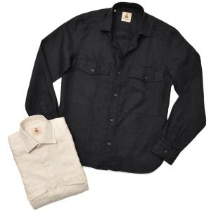 GUY ROVER ギローバー リネン ヘリンボーン レギュラーカラー ワークシャツ|realclothing