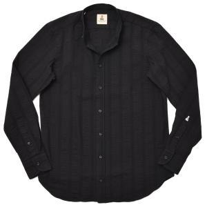 GUY ROVER ギローバー コットン ジャガードストライプ バンドカラーシャツ|realclothing