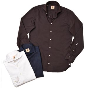 GUY ROVER ギローバー コットン ポリエステル ヘリンボーン ワイドカラーシャツ|realclothing