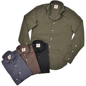 GUY ROVER(ギローバー)コットン ナイロン ストレッチ ポプリン ワイドカラーシャツ|realclothing