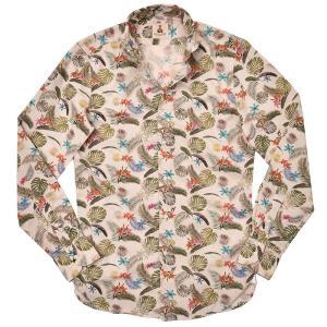 GUY ROVER(ギローバー)コットン ボタニカル柄 ワイドカラーシャツ|realclothing