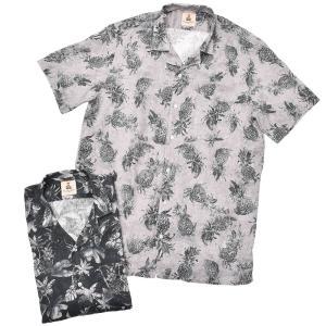 GUY ROVER(ギローバー)リネン ボタニカル ショートスリーブ オープンカラーシャツ|realclothing
