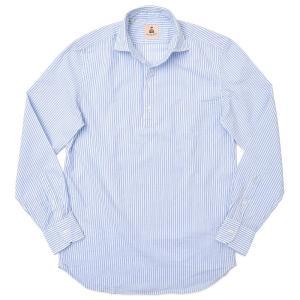 GUY ROVER(ギローバー)コットン シアサッカー ダブルストライプ プルオーバーシャツ|realclothing