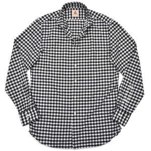 GUY ROVER(ギローバー)コットン ライトフランネル ヘリンボーン ギンガムチェック ワイドカラーシャツ|realclothing